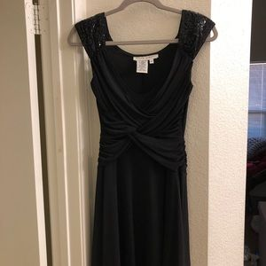 Maggy London 6 Black Dress with Sequin Shoulders